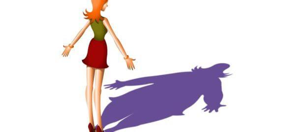 Porucha příjmu potravy štíhlá žena tlustý stín