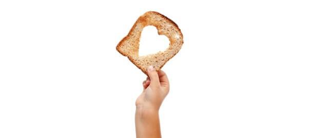Plátek chleba se srdíčkem